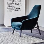 sillón moderno / de tejido / de cuero / de madera