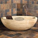 bañera independiente / ovalada / de piedra natural