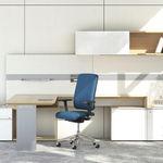 sillón de oficina moderno / de metal / de tejido / con ruedas