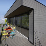 revestimiento de fachada de PVC / ranurado / en láminas / aspecto madera