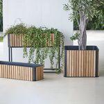 jardinera de aluminio / de teca / cuadrada / moderna