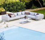 sofá modular / de diseño escandinavo / de jardín / de aluminio
