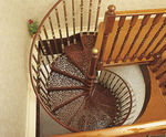 Escalera de caracol / estructura de metal / escalón de metal / sin contrahuellas WITH 3 BALUSTERS PER TREAD British Spirals & Castings
