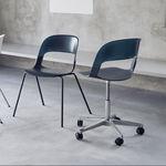 silla de visita moderna / de acero cromado / de roble / apilable