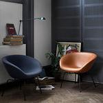 sillón moderno / de textil / de cuero / de acero