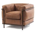 Sillón moderno / de cuero / de acero / tapizado LC2 MAISON LA ROCHE Cassina