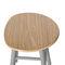 taburete de trabajo de acero cromado / de madera / rojo / gris