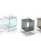 mesilla de noche moderna / de vidrio / rectangular / con almacenamiento