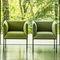sillón moderno / de tejido / de acero pintado / gris