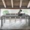Mesa de comedor moderna / de gres porcelánico / de material laminado / de vidrio templado SATURNO 130 Target Point New