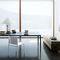 mesa de comedor moderna / de vidrio / de acero / rectangular