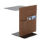 mesita auxiliar moderna / de metal / de cuero / rectangular