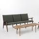 sofá de diseño escandinavo / de nogal / de tejido / 3 plazas