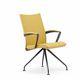 silla de visita moderna / de tela / de acero inoxidable pulido / de aluminio fundido