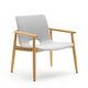 sillón moderno / de teca / de tejido / de contrachapado