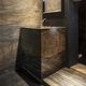 lavabo de pie / cuadrado / de piedra natural / moderno