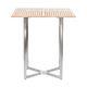 mesa alta moderna / de teca / de acero inoxidable / cuadrada