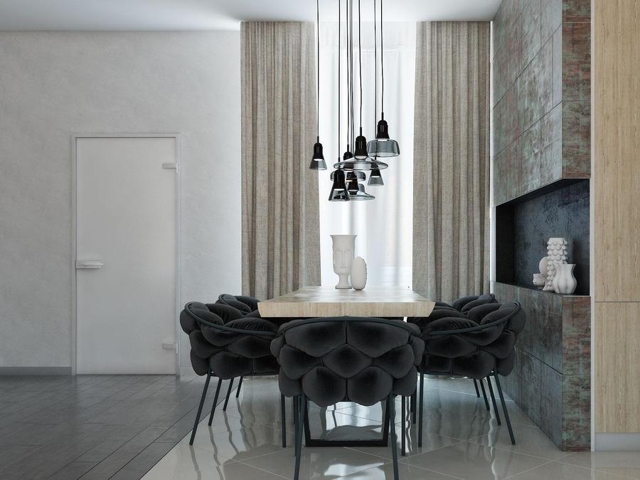 hogares modernos con las chimeneas asombrosas y la iluminacin creativa
