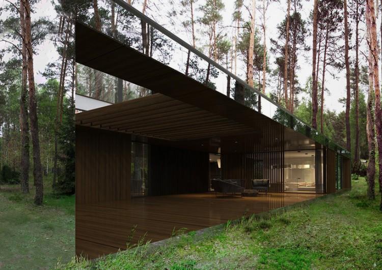 la casa reflejada por la reforma architekt flota sobre piso del bosque
