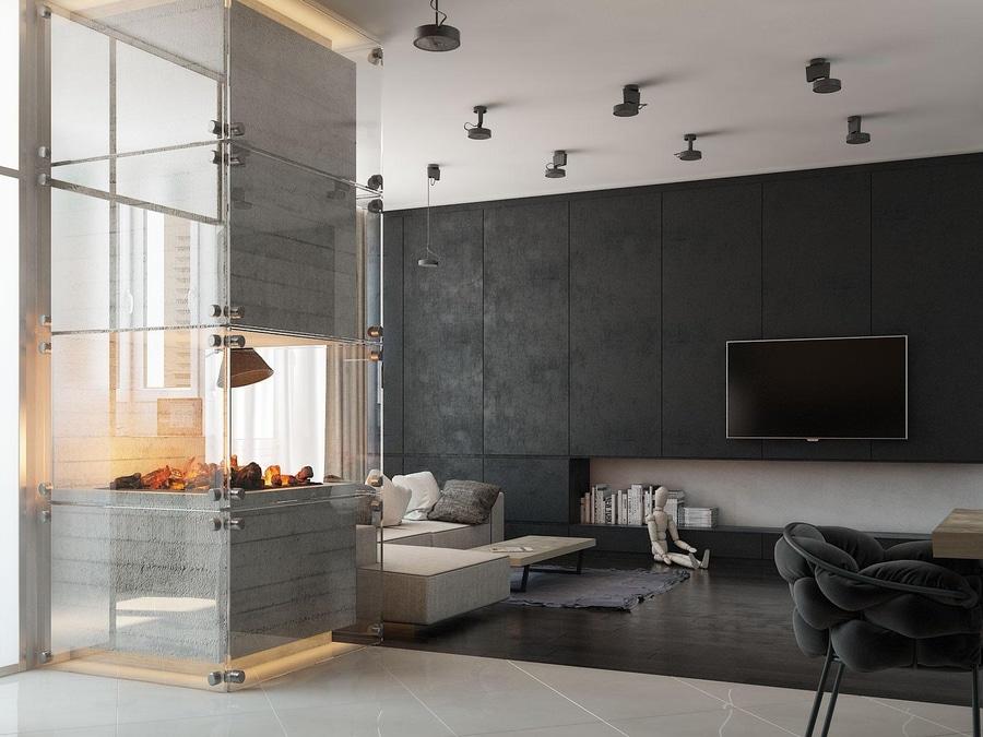 4 hogares modernos con las chimeneas asombrosas y la iluminación ...
