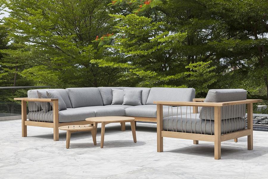 Muebles del salón de la teca con las cuerdas tejidas a mano - OASIQ