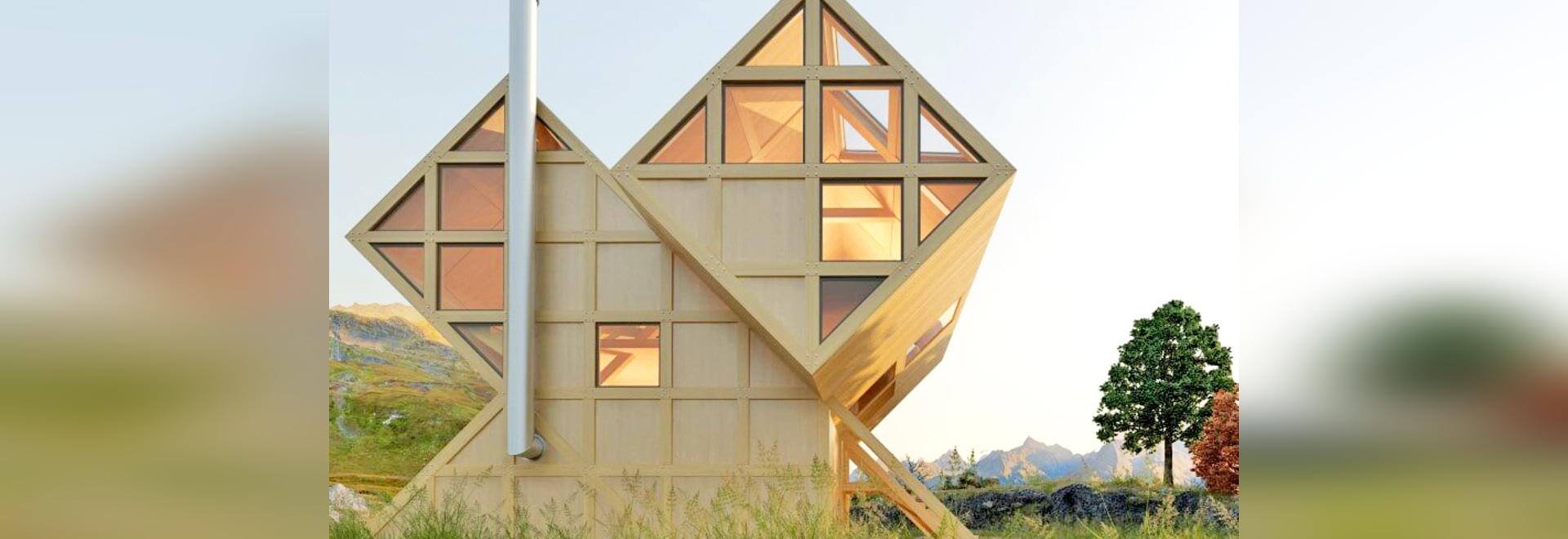 La casa magnífica del valle es una cabina geométrica de la madera ...