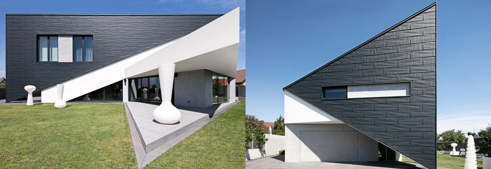 la casa triangular de los architekt de la reforma en Polonia cabe perfectamente el ambiente circundante
