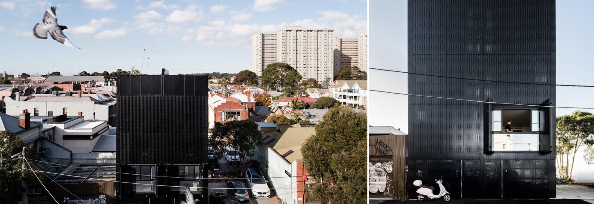 DKO + la LOSA añaden fachada negra de la pantalla del metal a las viviendas verticales en Australia