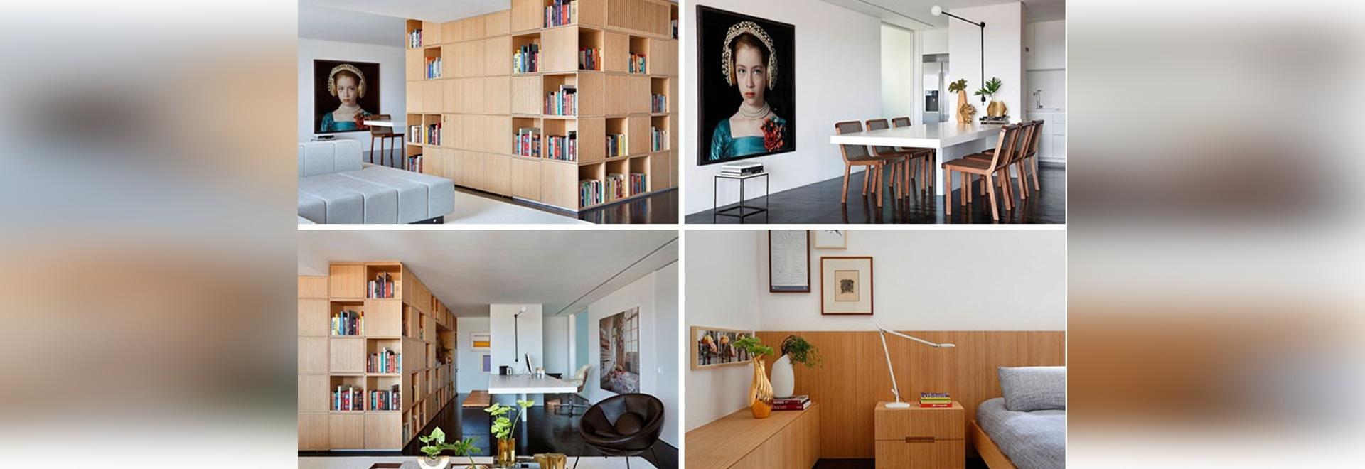 Un estante para libros central oculta la entrada en este apartamento