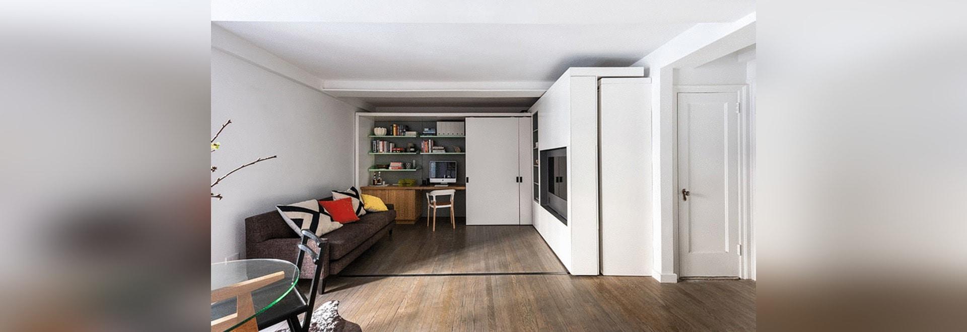 Este pequeño apartamento en Nueva York tiene una pared móvil de la ...