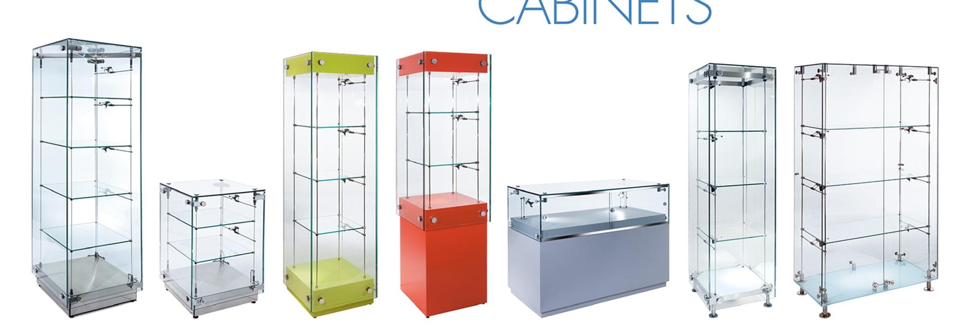 Folleto de cristal contemporáneo de los gabinetes de exhibición del grupo de Shopkit