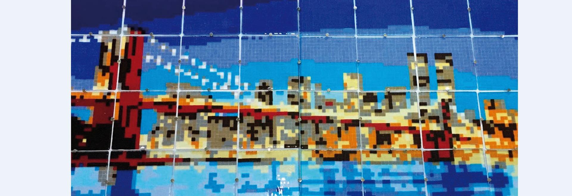 El panel de cristal retroiluminado de Murano - puente de Brooklyn