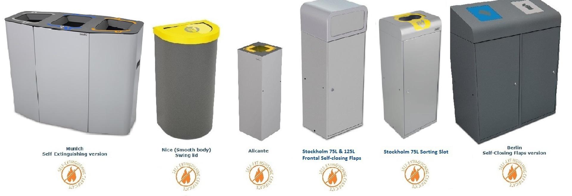 Papeleras Auto-Extingubles certificadas