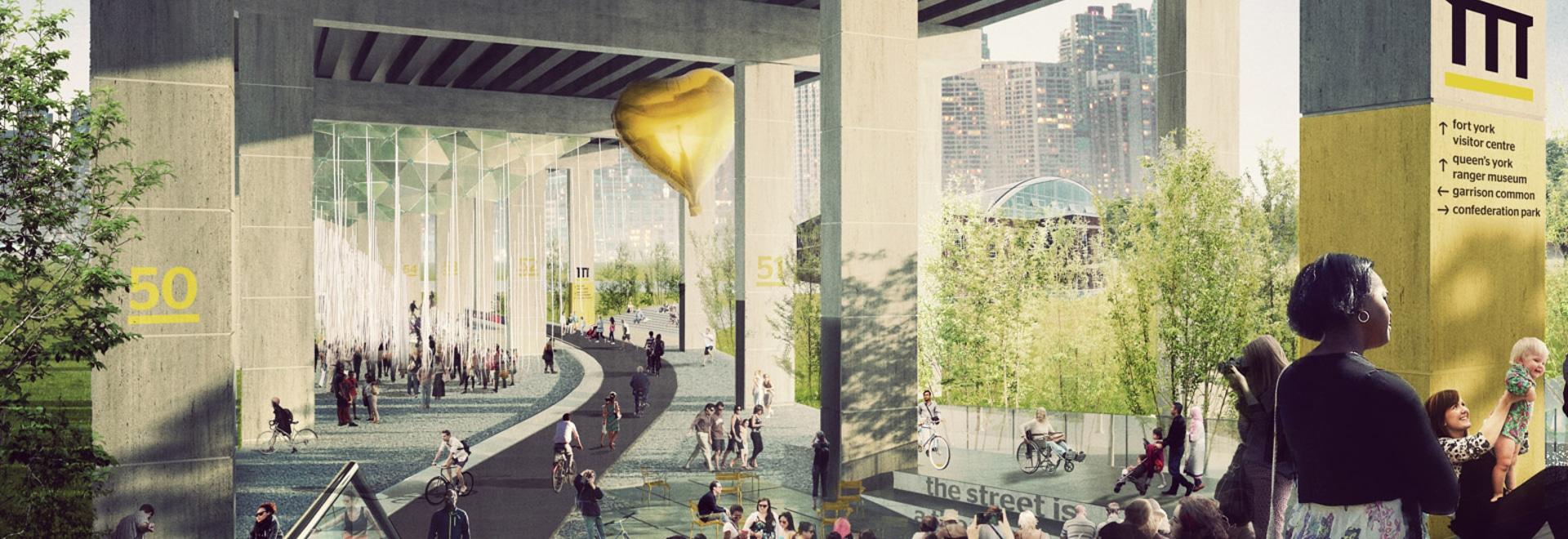 Los planes revelaron para el parque de Toronto que estirará debajo de una carretera
