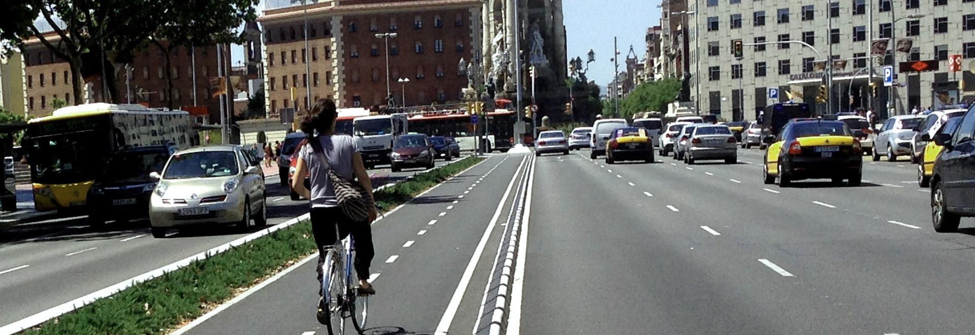 Separador de carril de goma del ciclo de MOMPE instalado en Barcelona
