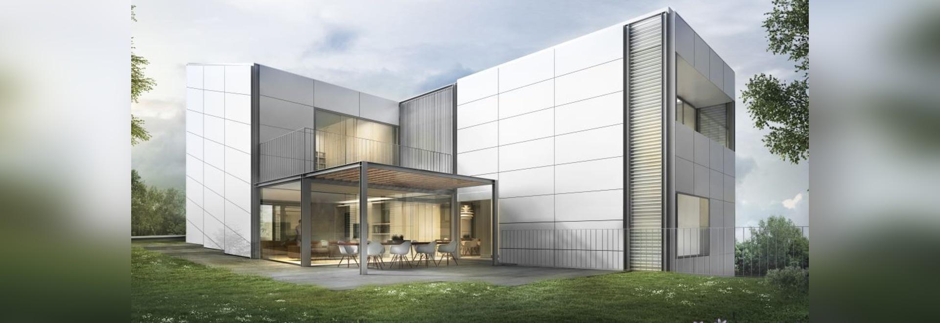 La simbiosis de fachadas ventiladas con una pared cerrada técnica