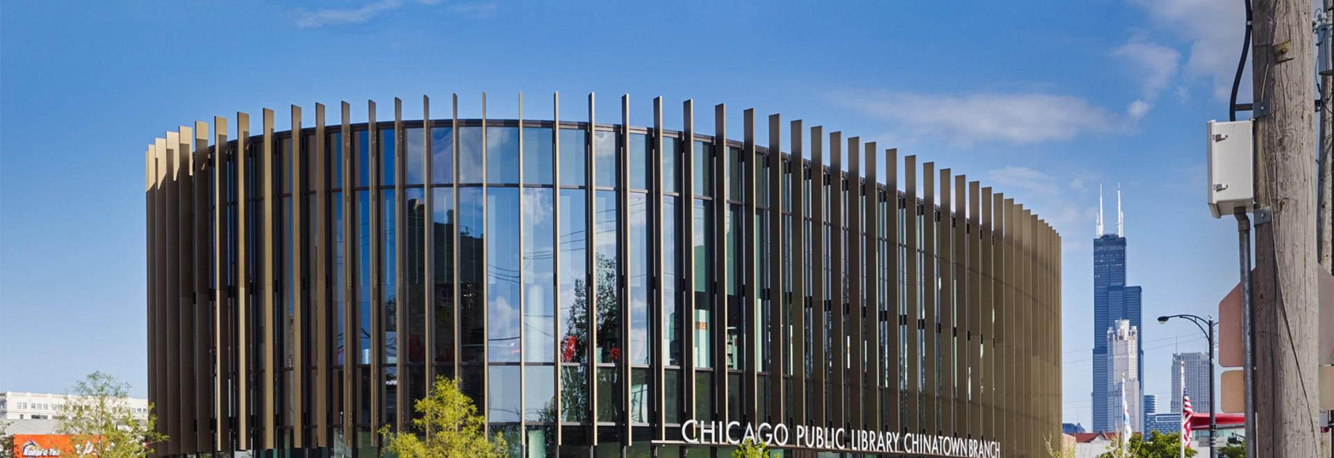 ¿El SOM crea una biblioteca circular envuelta en las aletas de aluminio para Chicago? s Chinatown