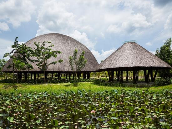 el diseño extrae influencia de la cesta de bambú tradicional que abriga las aves