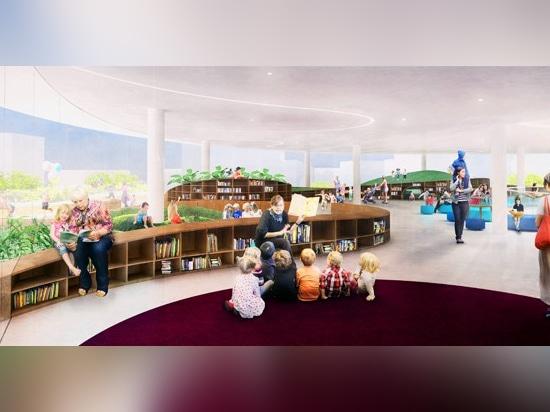 ¿el diseño incluye a niños? piso de s con un bookscape ondulado