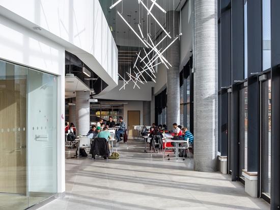 invirtiendo la estructura típica, dan los estudiantes el acceso a los espacios más brillantes mientras que las oficinas están situadas en la base