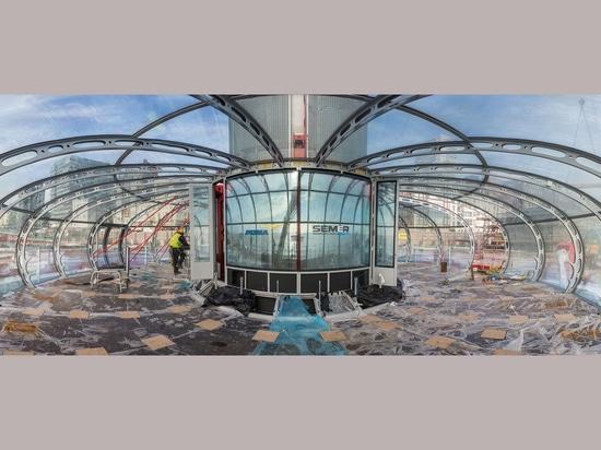 Los arquitectos de Barfield de las marcas han terminado la construcción de la bóveda de cristal para la torre de British Airways i360 de Brighton. Fotografía: Kevin Meredith
