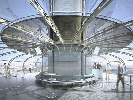 """Una vez que está terminado, el primer teleférico vertical """"del mundo"""" transportará a pasajeros el 138m para arriba en el aire…"""