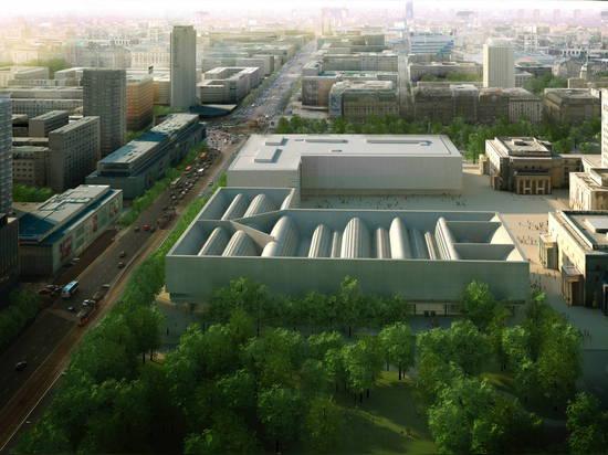 Qué habría podido ser: ¿Kerez cristiano? ¿diseño para un nuevo edificio del museo en Varsovia? s Plac Defilad. La visión está pareciendo del sur con el palacio de la ciencia y de la cultura al dere...