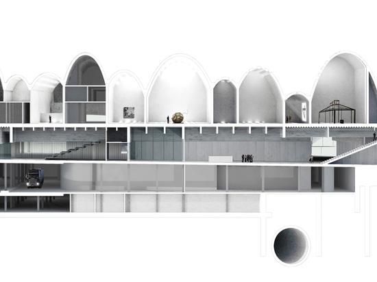 Kerez sugirió un edificio ambicioso donde una estructura explícita forma los espacios como ondas concretas… (Imagen: Kerez cristiano)