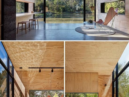 Este pequeño edificio al lado de una charca fue diseñado para ser utilizado como Ministerio del Interior del estudio de la yoga y