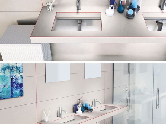 Este fregadero del cuarto de baño fue diseñado con una parte inferior de cristal transparente