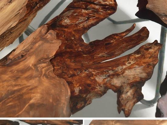 La madera antigua de Nueva Zelanda fue combinada con la resina para crear esta sobremesa única
