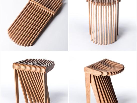 Este taburete se hace a partir de 27 pedazos de madera que entrelazan