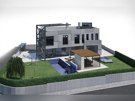 Vila con revestimiento de la fachada en granito gris