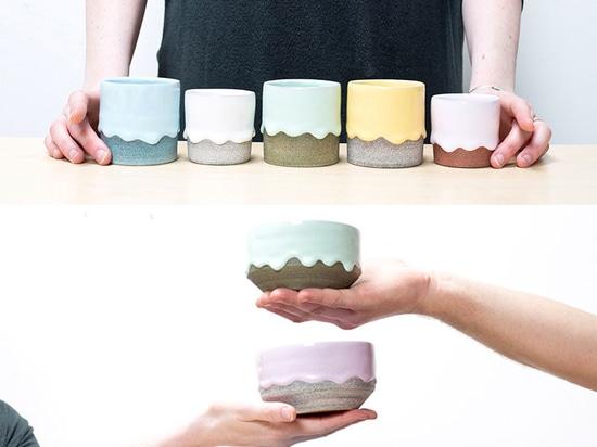 Colección de Brian Giniewski Ceramics Has Created A de buques del goteo del arco iris